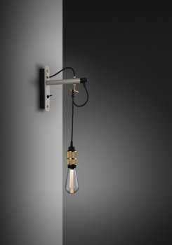 HOOKED wall nude stone &  brass with buster bulb crystal ON