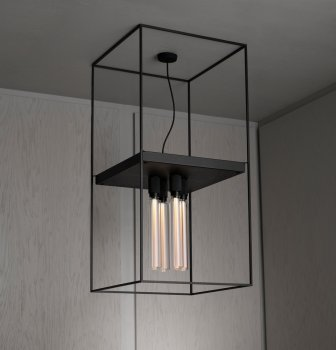 Buster & Punch CAGED Ceiling Light 4.0 Flamed Black Granite Extension Cage